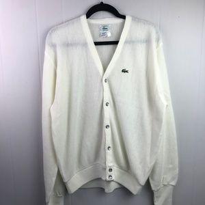 Lacoste | Size L. Vintage Knit Ivory Cardigan